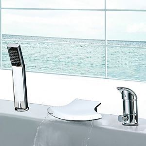 Waterfall Single Handle Contemporary Widespread Chrome Finish Tub Faucet With Handshower