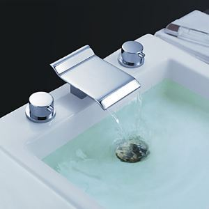 Waterfall Deck Mount Contemporary Bathroom Sink Faucet (Chrome Finish)
