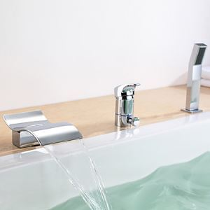 Waterfall Widespread Bathtub Faucet with Hand Shower