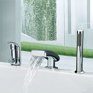 Waterfall Widespread Single Handle Contemporary With Handshower Tub Faucet-Chrome Finish