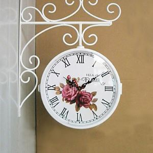 White Double Dial Wall Clock in Iron