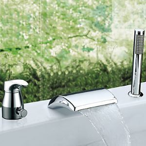 Widespread Chrome Finish Contemporary Waterfall Single Handle Tub Faucet With Handshower