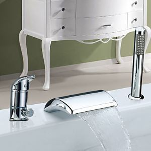 Widespread Chrome Finish Contemporary Waterfall Single Handle With Handshower Tub Faucet