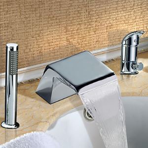 Widespread Chrome Finish Single Handle Contemporary Waterfall Tub Faucet With Handshower