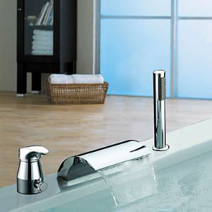 Widespread Chrome Finish Single Handle Contemporary Waterfall With Handshower Tub Faucet