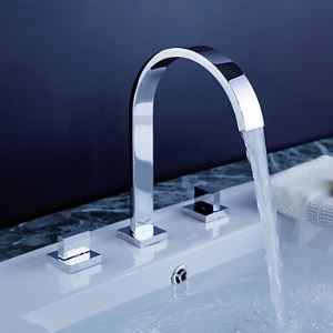 Widespread Bathroom Sink Faucet Contemporary Deck Mount Chrome Tap