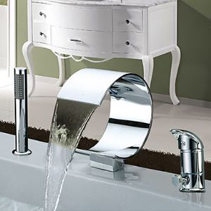 Widespread Contemporary Single Handle Chrome Finish Waterfall Tub Faucet With Handshower