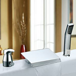 Widespread Contemporary Single Handle Waterfall Chrome Finish Tub Faucet With Handshower