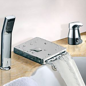 Widespread Single Handle Chrome Finish Contemporary Waterfall Tub Faucet With Handshower