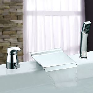 Widespread Single Handle Chrome Finish Contemporary Waterfall With Handshower Tub Faucet