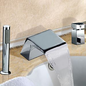 Widespread Single Handle Chrome Finish Waterfall Contemporary Tub Faucet With Handshower