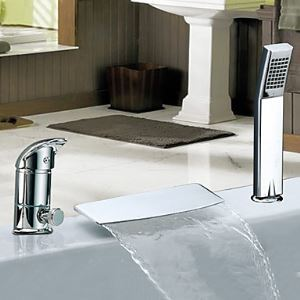 Widespread Single Handle Chrome Finish Waterfall Contemporary With Handshower Tub Faucet