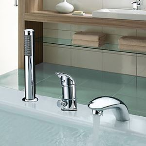 Widespread Single Handle Contemporary Chrome Finish Waterfall With Handshower Tub Faucet