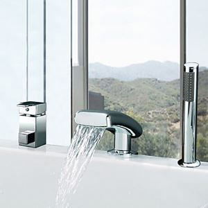 Widespread Single Handle Waterfall Contemporary Tub Faucet With Handshower(Chrome Finish)