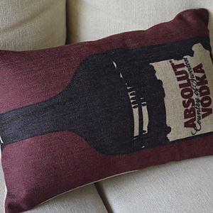 Winebottle Cotton Decorative Pillow Cases