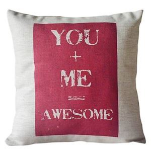 You and Me Cotton/Linen Decorative Pillow Cover 035 for Christmas Holiday Decor Christmas Pillow Christmas Gifts