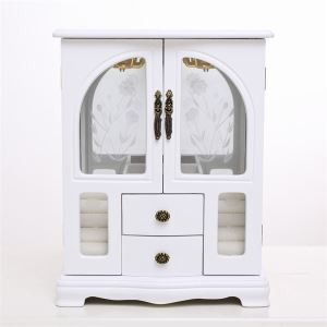 Minna 2 door jewelry box in White finish