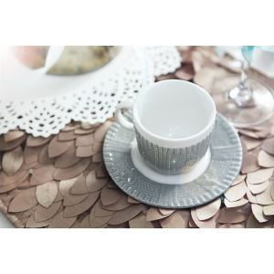 Reminiscence Double Glaze French Style Yarn Pattern Coffee Cup Set