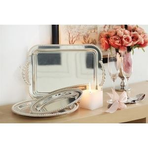 Contemperary Double handle Stainless-Steel Tray (Sold Separately)