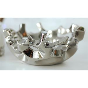 Contemporary Hollow Out Eletroplated Fruit Tray-Silver