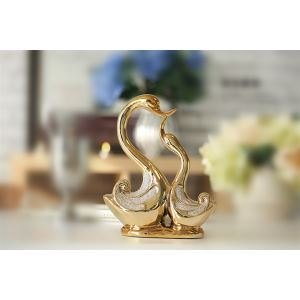 Contemporary Eletroplated Golden Kissing Swan