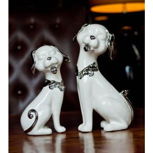 Contemporary Eletroplated Ceramic Fortune Dog Ornament Set