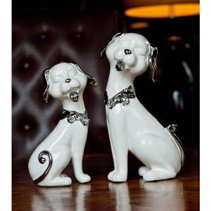 Contemporary Eletroplated Ceramic Fortune Dog Ornament Set