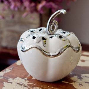 Contemporary Eletroplated White Ceramic Pumkin Organizer