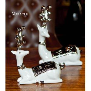 Contemporary Eletroplated Ceramic Deer Ornament Set