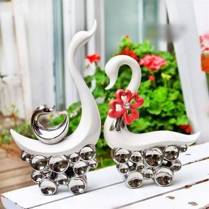American Country Style Eletroplated Ceramic Swan Set