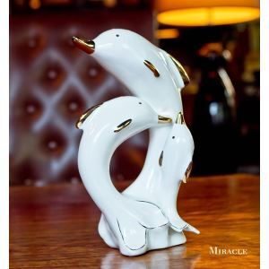 Contemporary Eletroplated Ceramic Dolphin Ornament Set
