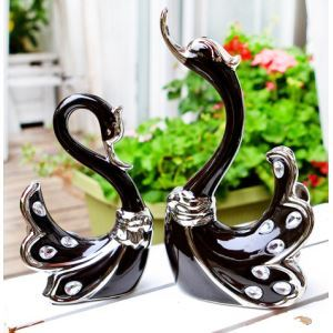 Lovers Post-Modernity Diamond Mounted Eletroplated Ceramic Swan Set