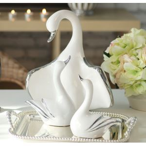 Contemporary Eletroplated Ceramic Swan Famiy Set