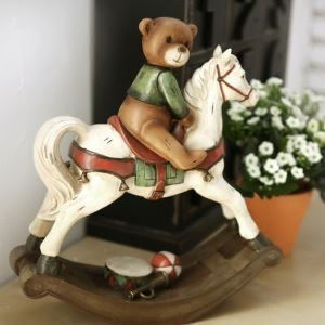 American Country Style Rocking Horse And Bear Polyresin Ornament