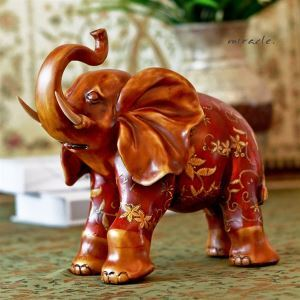 Hand Painted Southeast Asia Style Polyresin Elephant Ornament