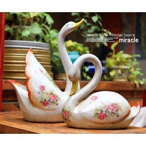 French Country Style Vintage Ceramic Swan Ornament Set