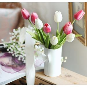 Tulip Silk Flowers, Butterfly Ceramic Flower Vase Arrangement