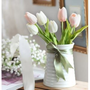 Tulip Silk Flowers, Small Spiral Ceramic Flower Vase Arrangement