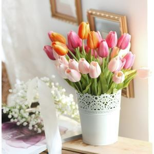 Tulip Silk Flowers, Iron Flower Bucket Arrangement
