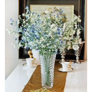 Gypsophila Silk Flowers, Wave Crystal Flower Vase Arrangement