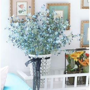 Gypsophila Silk Flowers, Rattan Weaving Pattern Ceramic Flower Vase(Small) Arrangement