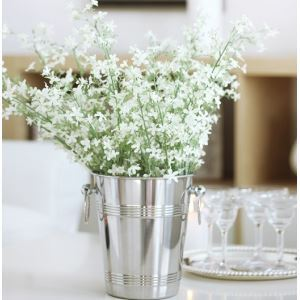 Gypsophila Silk Flowers, Stainless Steel Flower Bucket Arrangement