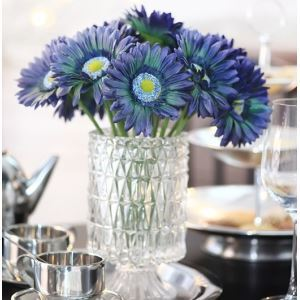 Gerbera Daisy Silk Flowers, Small Crystal Flower Vase Arrangement