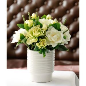Gardenias Silk Flowers, White Spiral Ceramic Flower Vase Arrangement
