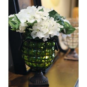 Scotland Hydrangea Silk Flowers, Metal Vintage Glass Flower Vase Arrangement