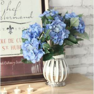 Scotland Hydrangea Silk Flowers, Silver Creamer Ceramic Flower Vase Arrangement