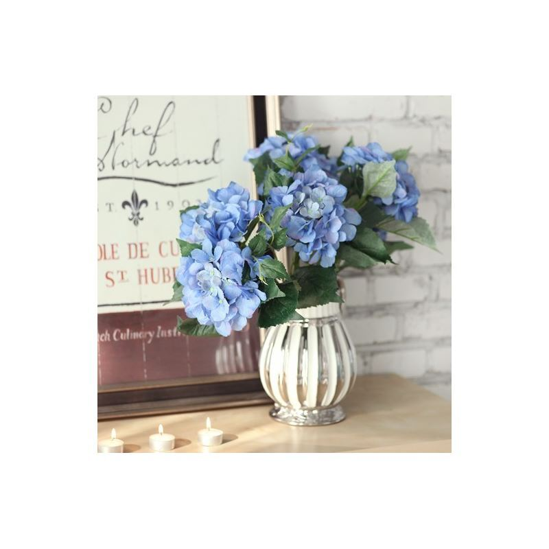 Home Decor Floral Arrangements Scotland Hydrangea Silk Flowers Silver Creamer Ceramic Flower Vase