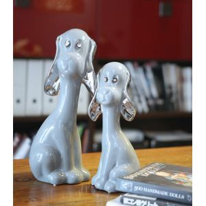 Contemporary Eletroplated Ceramic Dog Ornament-Grey (Sold Separately)