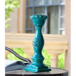 European Classic Turquoise Glaze Cracked Ice Pattern Candle Holder