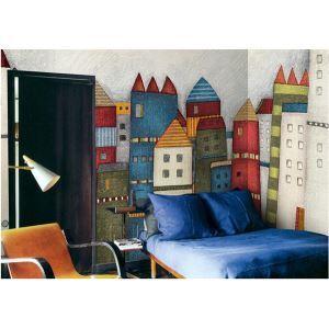 Contemporary Colourful Castle Non-Woven Paper Mural